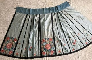 Antique Chinese Embroidered Silk Floral Damask Apron Skirt Forbidden Stitch Qing