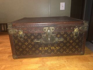Louis Vuitton Antique Luggage Hat/shoe Case /lv Monogram Travel Steamer Trunk