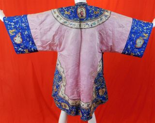 Antique Chinese Embroidered Eight Immortals Deities Seed Pearl Coral Beaded Robe 2