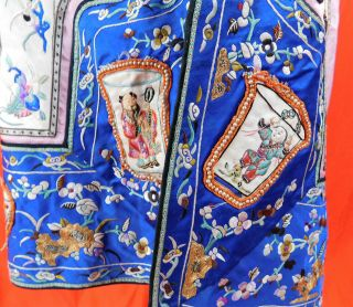 Antique Chinese Embroidered Eight Immortals Deities Seed Pearl Coral Beaded Robe 5