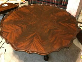 Baker Round Scalloped Coffee/cocktail Table,  Mahogany