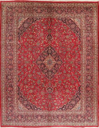 Vintage 10x13 Traditional Floral Red Persian Oriental Area Rug Hand - Knotted Wool