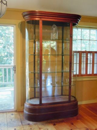 Antique English Mahogany And Glass Shop Display Cabinet,  Vitrine,  Curved Glass
