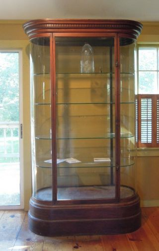 Antique English Mahogany and Glass Shop Display Cabinet,  Vitrine,  Curved glass 2