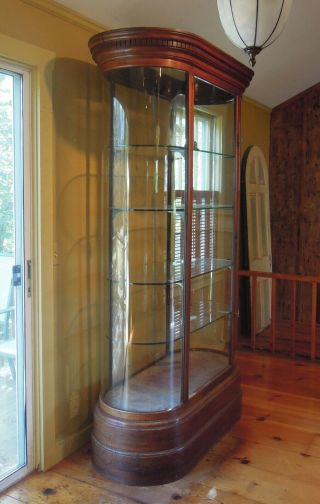 Antique English Mahogany and Glass Shop Display Cabinet,  Vitrine,  Curved glass 3