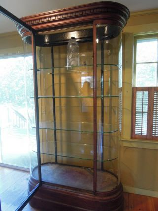 Antique English Mahogany and Glass Shop Display Cabinet,  Vitrine,  Curved glass 8