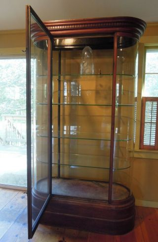 Antique English Mahogany and Glass Shop Display Cabinet,  Vitrine,  Curved glass 9