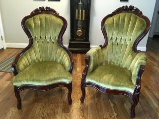 """Local Pick Up Only - Vintage """"his & Hers"""" Victorian Mahogany Parlor Chairs"""