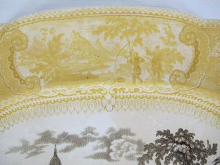 Antique 1830 ' s RARE Staffordshire Enoch Transferware Brown &Yellow Belzoni yqz 6