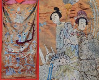 Antique Chinese Embroidery Eight Immortals Deities Banquet Wall Hanging Tapestry
