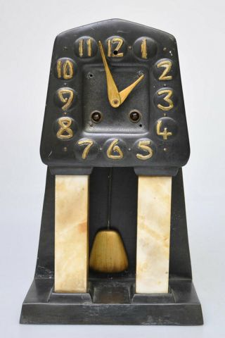 A Liberty/archibald Knox Style Arts And Crafts Bronze & Marble Clock C1910