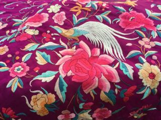Antique Magenta Silk Floral Embroidered Piano Scarf/shawl Colors