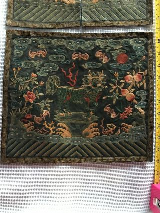 Antique Chinese Silk embroidery Official Rank Badge Pair Asian Embroidered 2