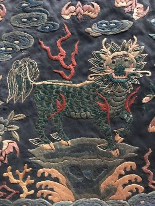 Antique Chinese Silk embroidery Official Rank Badge Pair Asian Embroidered 3