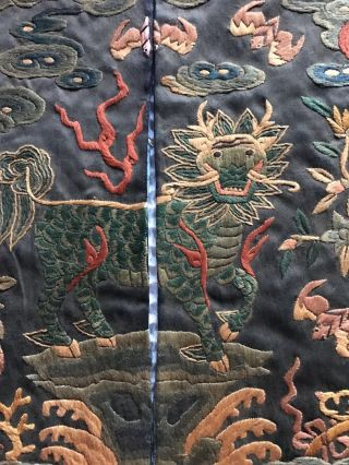 Antique Chinese Silk embroidery Official Rank Badge Pair Asian Embroidered 4