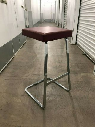 Mies Van Der Rohe Upholstered Leather Bar Stool