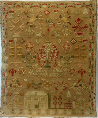 Mid 19th Century House & Motif Sampler By Jane Davies Aged 16 - September 1867