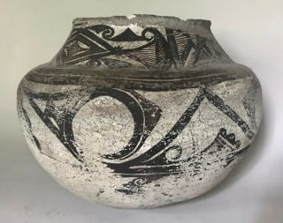 Very Old Zuni Decorated Pottery Olla W Red Bottom,  C.  1850 - 85