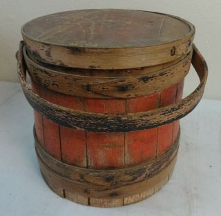 Large Antique Primitive Wooden Furkin In Paint Late 19th Century