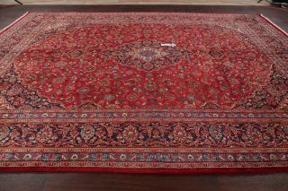 Vintage Traditional Floral Red Persian Area Rug Oriental Hand - Knotted Wool 10x13