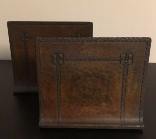 Antique Signed Roycroft Hammered Copper Bookends In Aurora Brown -