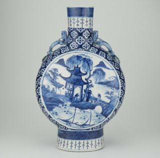 Large Antique Chinese Blue And White Porcelain Dragon Moon Flask Vase 19th C
