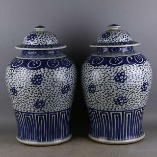 A Pair Great Chinese Blue&white Porcelain Put Lotus Flower Hat - Covered Jar