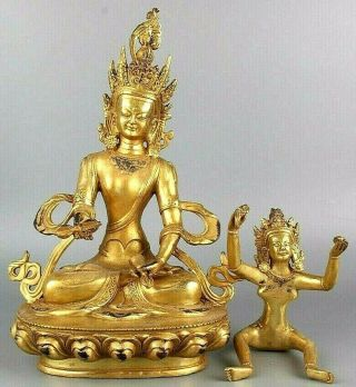Antique Chinese Gold Gilt Buddha Statue Figures On Lotus Flower Male And Female