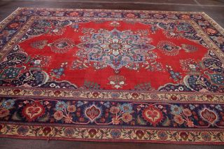 Vintage Geometric SCARLET Persian Oriental Area Rug Hand - Knotted Oriental 8x11 10