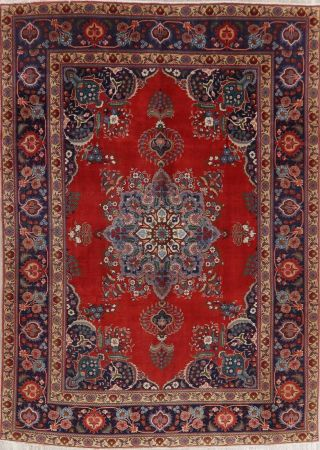 Vintage Geometric Scarlet Persian Oriental Area Rug Hand - Knotted Oriental 8x11