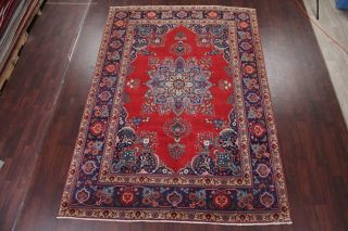 Vintage Geometric SCARLET Persian Oriental Area Rug Hand - Knotted Oriental 8x11 2