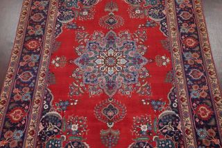 Vintage Geometric SCARLET Persian Oriental Area Rug Hand - Knotted Oriental 8x11 3