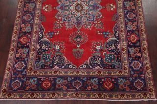 Vintage Geometric SCARLET Persian Oriental Area Rug Hand - Knotted Oriental 8x11 5