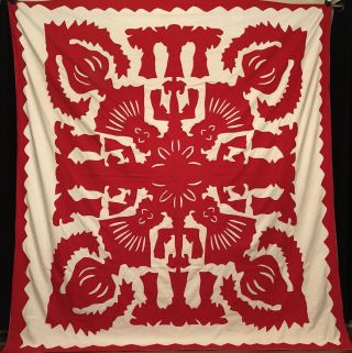 Stunning Mid - Century Red & White Hawaiian Applique Quilt Top.