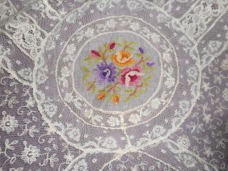 Outstanding Antique Normandy Lace Bedspread With Silk Embroidery