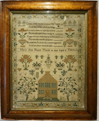 Early 19th Century House,  Motif & Verse Sampler By Mary Ann Honey Aged 8 - 1820
