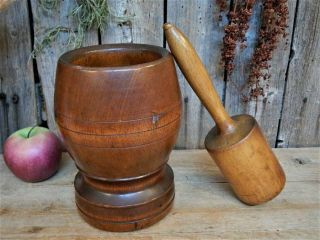 Aafa Early Antique Primitive Large Wood Mortar & Pestle Pantry Apothecary