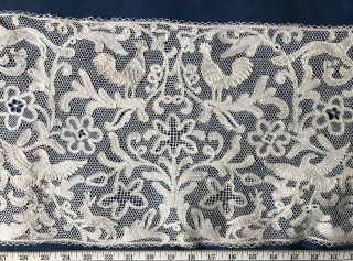 Whimsical Flying And Forest Creatures In Handmade Milanese Bobbin Lace Panel