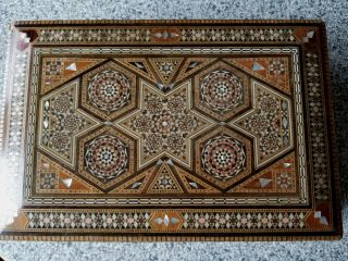 Vintage Syrian Wooden Micro Mosaic Box Secret Drawer Jewelry Box Inlaid Mop