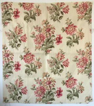 Absolutely 19th C.  French Botanical Floral Cotton Fabric.  (2604)
