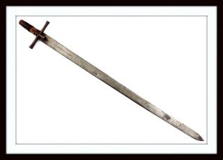 Antique Medieval Crusader Knight Style Sword Copper Inlaid Blade,  German English