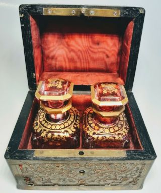 19th Century Antique French Perfume Casket Set With 2 Pink Gold Crystal Bottles