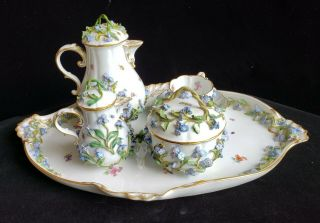 Exceptional Meissen Tea Set,  Insects Leaves,  Flowers,  Crossed Swords