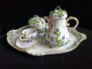 Exceptional Meissen Tea Set,  Insects Leaves,  Flowers,  Crossed Swords 2