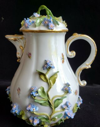 Exceptional Meissen Tea Set,  Insects Leaves,  Flowers,  Crossed Swords 4