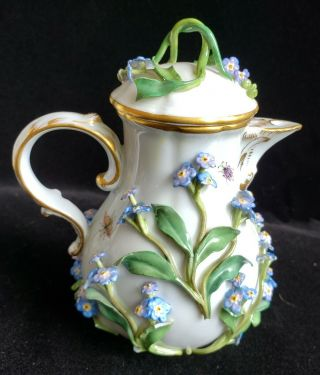 Exceptional Meissen Tea Set,  Insects Leaves,  Flowers,  Crossed Swords 7