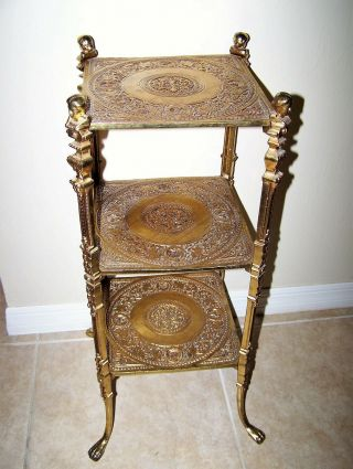 Antique French Brass 3 Tier Very Ornate Plant Stand Table Cherub Bust Claw Feet