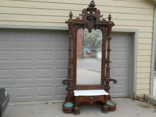 A Fine Monumental Walnut Victorian Renaissance Hall Tree Umbrella Stand