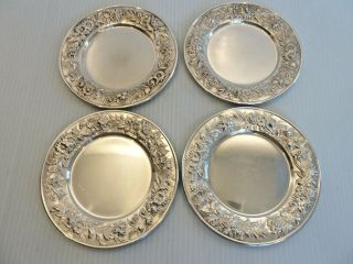 "4 Sterling Bread / Dessert Plates Or Wine Coasters,  Repousse Rims,  "" S.  Kirk&son """