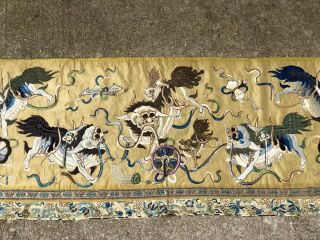 Antique 19th Century Chinese Textile Panel Silk On Silk Embroidery
